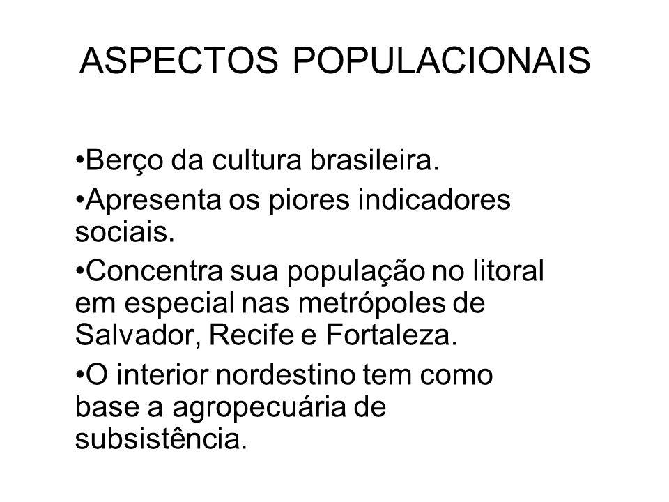 ASPECTOS POPULACIONAIS Berço da cultura brasileira. Apresenta os piores indicadores sociais. Concentra sua população no litoral em especial nas metróp