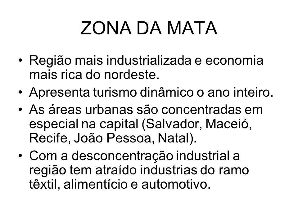 ZONA DA MATA Região mais industrializada e economia mais rica do nordeste. Apresenta turismo dinâmico o ano inteiro. As áreas urbanas são concentradas