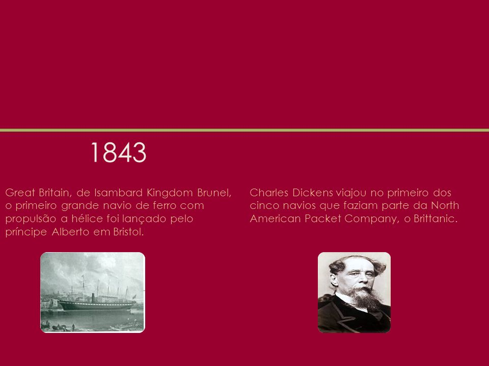 1843 Great Britain, de Isambard Kingdom Brunel, o primeiro grande navio de ferro com propulsão a hélice foi lançado pelo príncipe Alberto em Bristol.