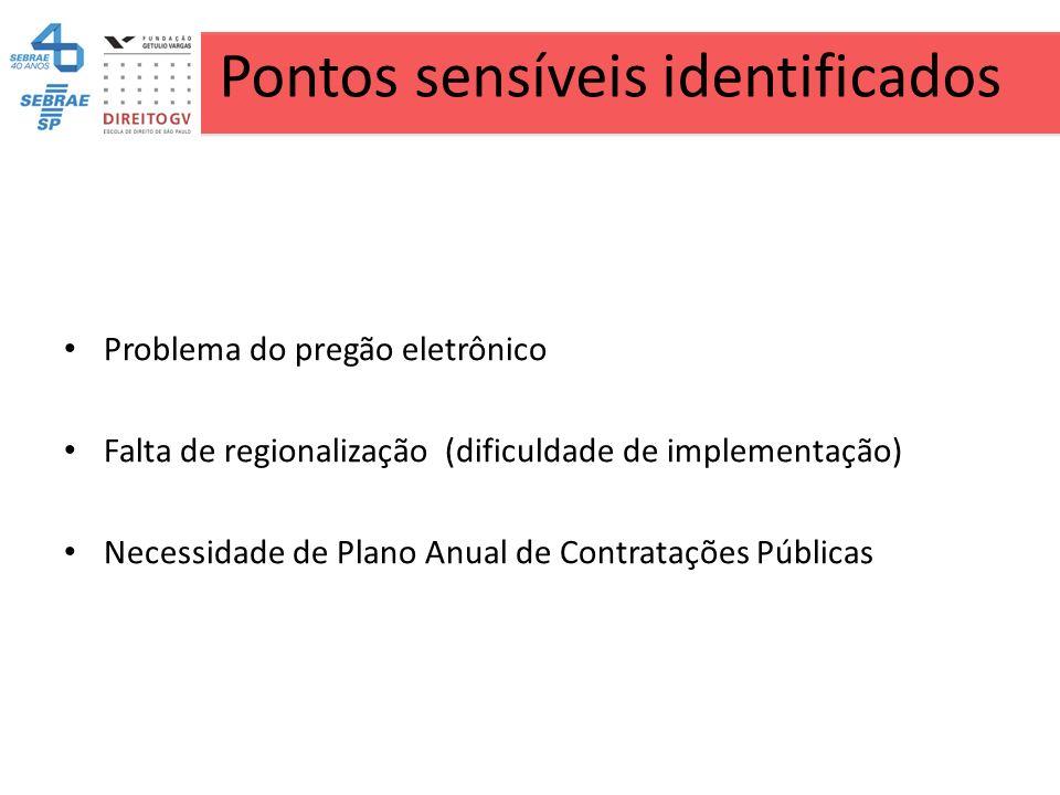 Pontos sensíveis identificados Problema do pregão eletrônico Falta de regionalização (dificuldade de implementação) Necessidade de Plano Anual de Cont
