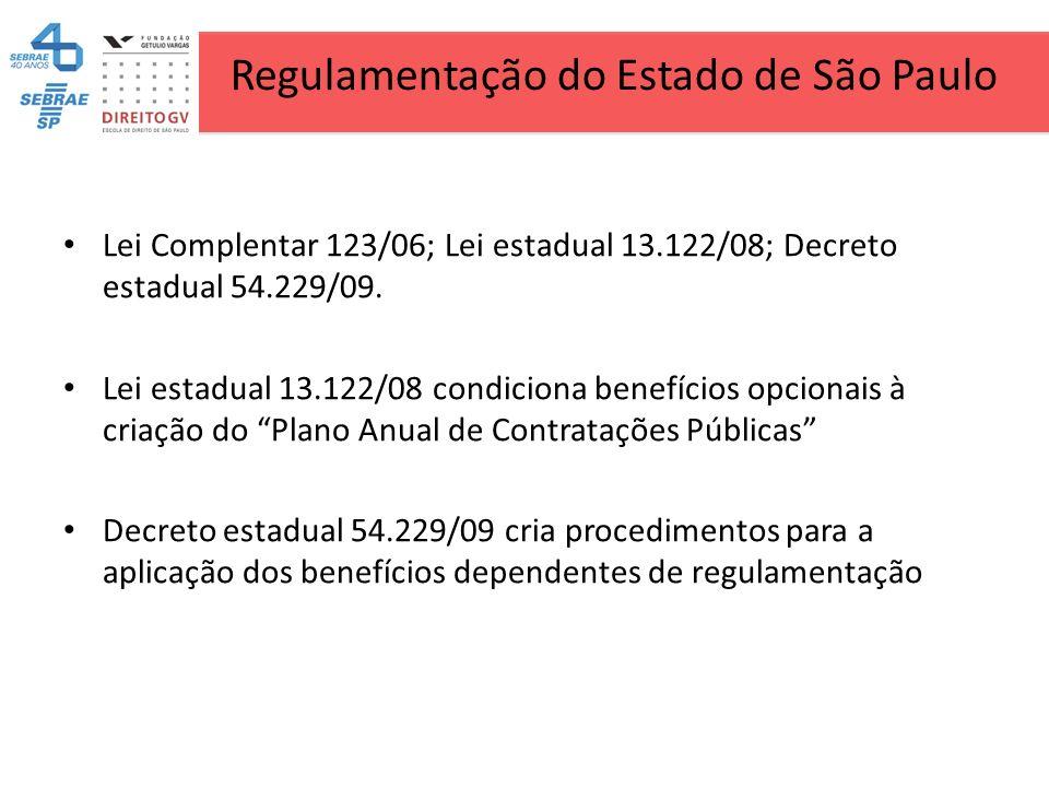 Regulamentação do Estado de São Paulo Lei Complentar 123/06; Lei estadual 13.122/08; Decreto estadual 54.229/09. Lei estadual 13.122/08 condiciona ben
