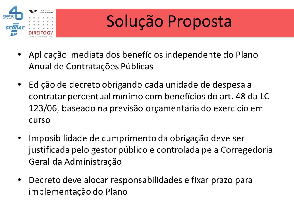 Solução Proposta Aplicação imediata dos benefícios independente do Plano Anual de Contratações Públicas Edição de decreto obrigando cada unidade de de