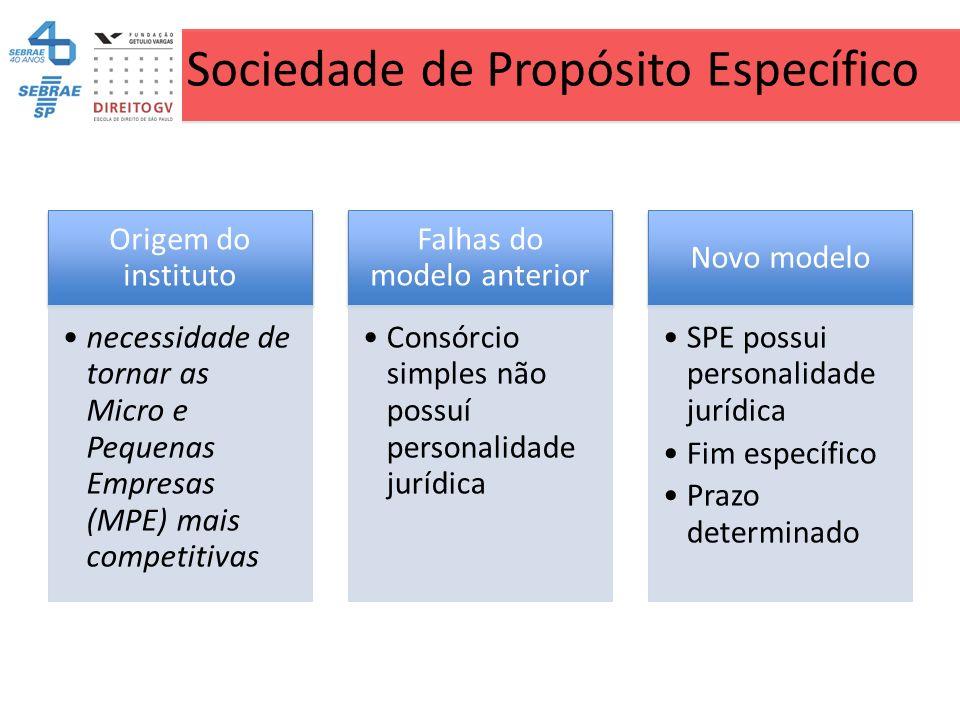 Sociedade de Propósito Específico Origem do instituto necessidade de tornar as Micro e Pequenas Empresas (MPE) mais competitivas Falhas do modelo ante