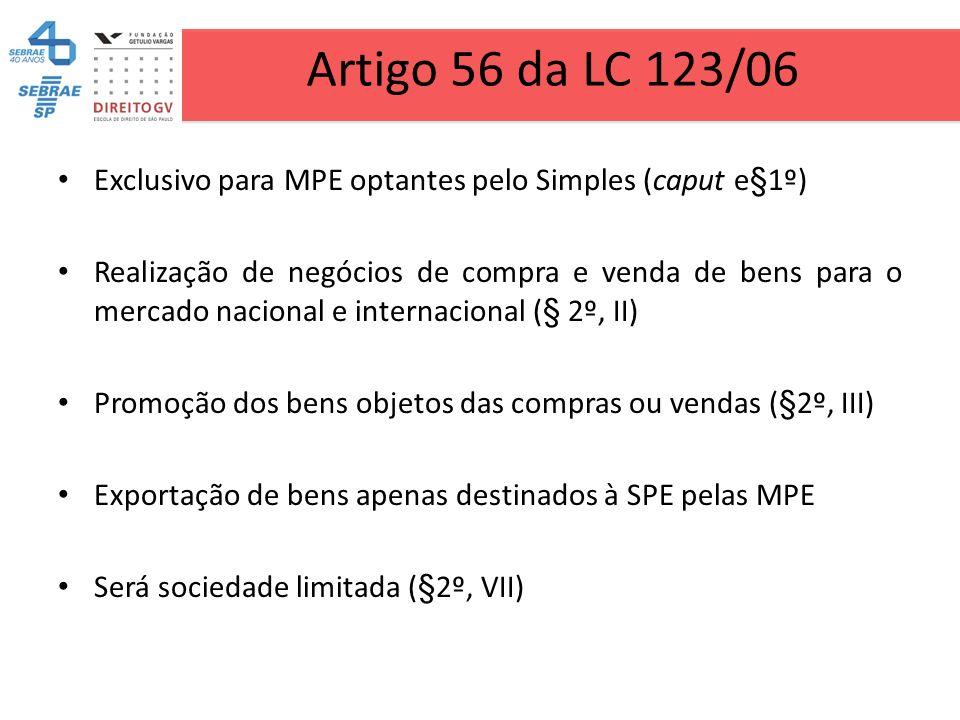 Artigo 56 da LC 123/06 Exclusivo para MPE optantes pelo Simples (caput e§1º) Realização de negócios de compra e venda de bens para o mercado nacional