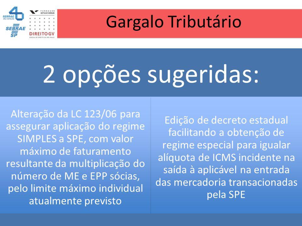 Gargalo Tributário 2 opções sugeridas: Alteração da LC 123/06 para assegurar aplicação do regime SIMPLES a SPE, com valor máximo de faturamento result