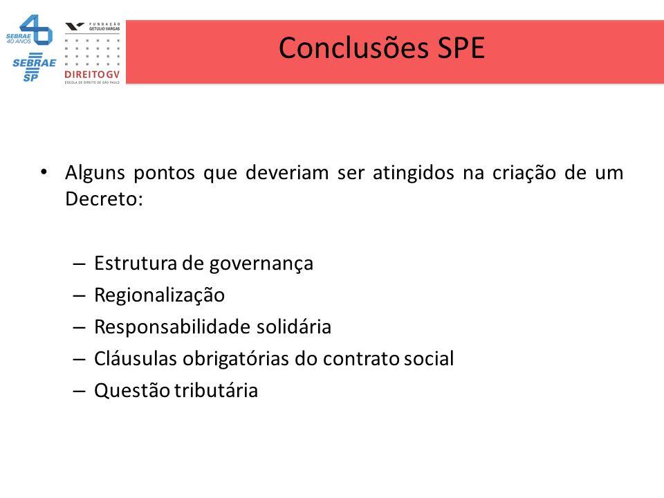 Conclusões SPE Alguns pontos que deveriam ser atingidos na criação de um Decreto: – Estrutura de governança – Regionalização – Responsabilidade solidá