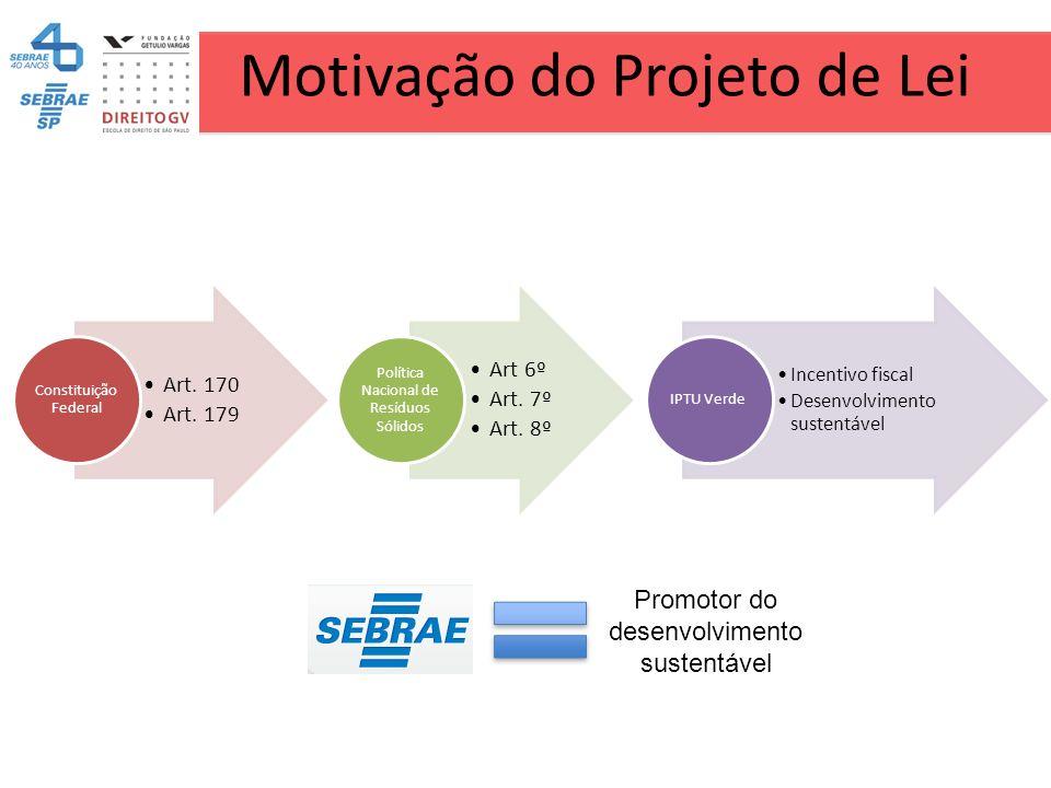 Motivação do Projeto de Lei Art. 170 Art. 179 Constituição Federal Art 6º Art. 7º Art. 8º Política Nacional de Resíduos Sólidos Incentivo fiscal Desen