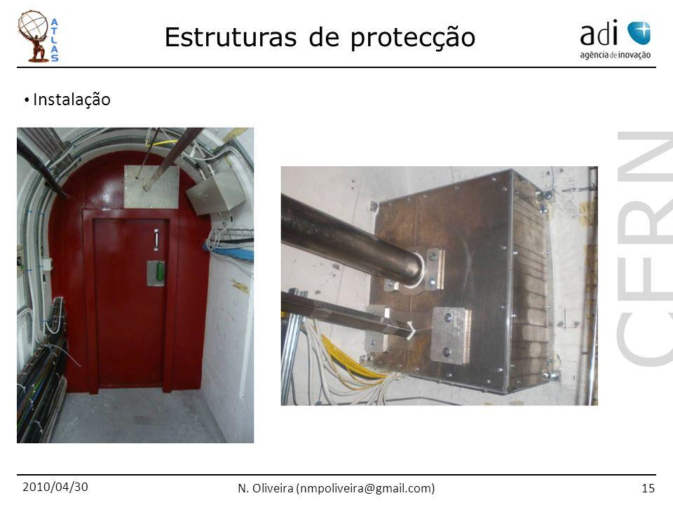 2010/04/30 N. Oliveira (nmpoliveira@gmail.com) CERN 15 Instalação Estruturas de protecção