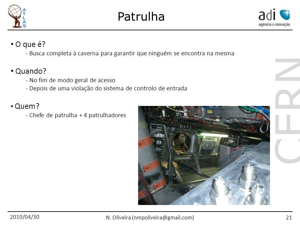 2010/04/30 N. Oliveira (nmpoliveira@gmail.com) CERN 21 Patrulha O que é.