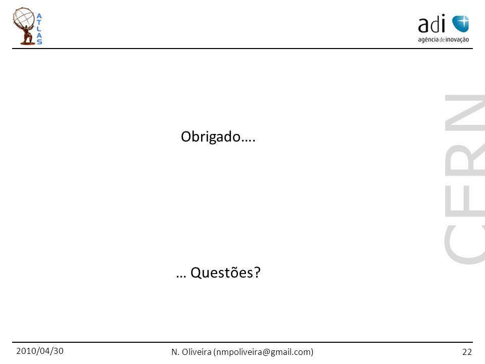 2010/04/30 N. Oliveira (nmpoliveira@gmail.com) CERN 22 Obrigado…. … Questões