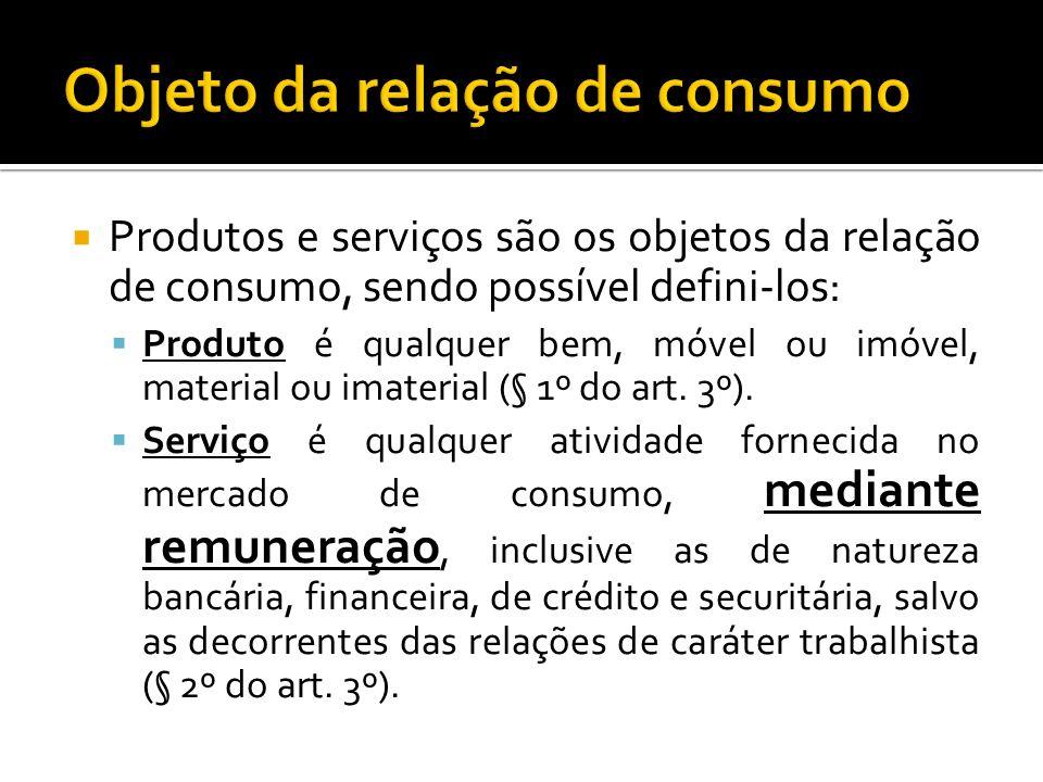 Produtos e serviços são os objetos da relação de consumo, sendo possível defini-los: Produto é qualquer bem, móvel ou imóvel, material ou imaterial (§