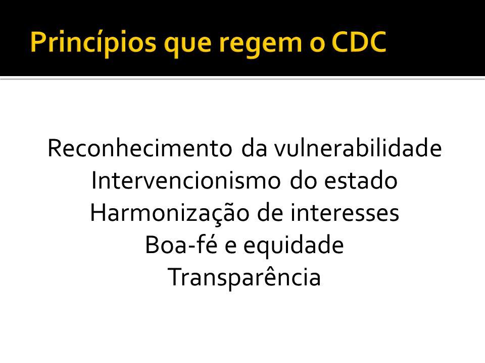 Reconhecimento da vulnerabilidade Intervencionismo do estado Harmonização de interesses Boa-fé e equidade Transparência
