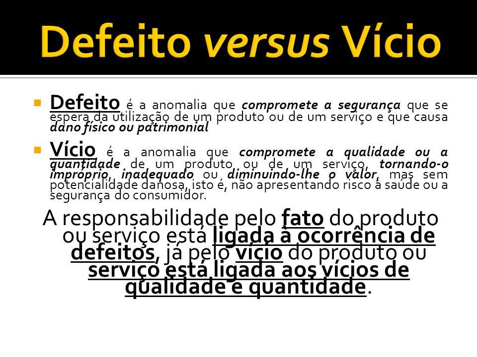 Defeito é a anomalia que compromete a segurança que se espera da utilização de um produto ou de um serviço e que causa dano físico ou patrimonial Víci