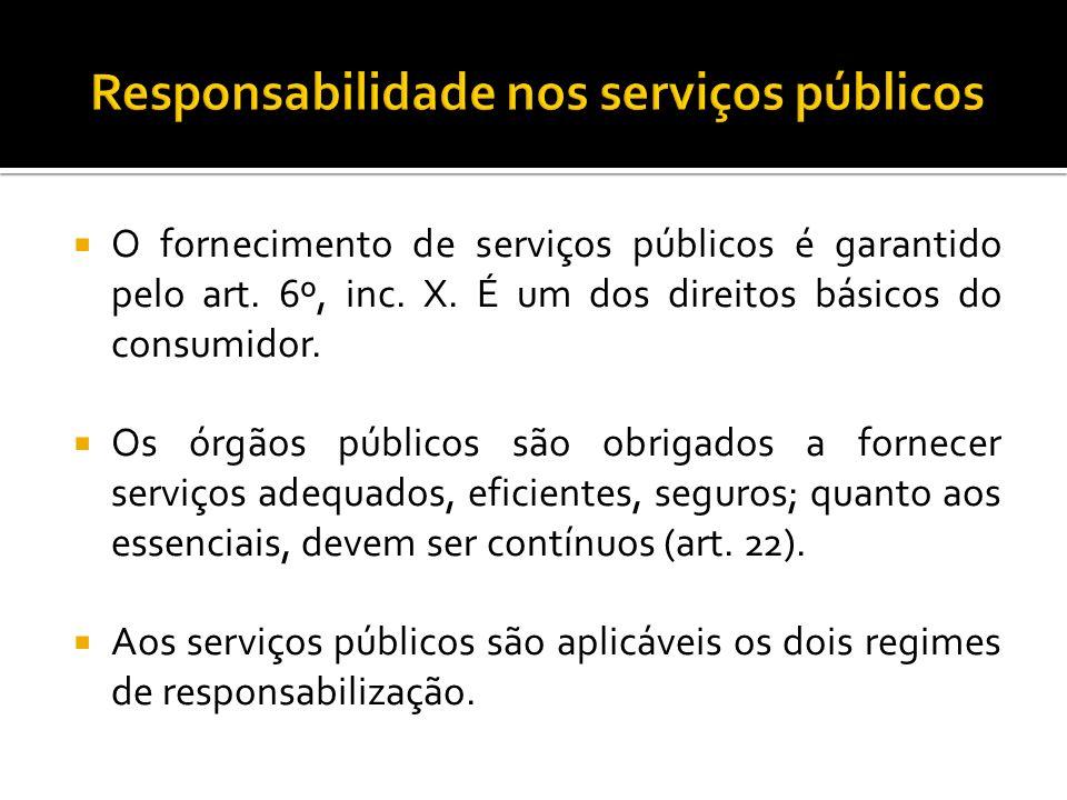 O fornecimento de serviços públicos é garantido pelo art. 6º, inc. X. É um dos direitos básicos do consumidor. Os órgãos públicos são obrigados a forn
