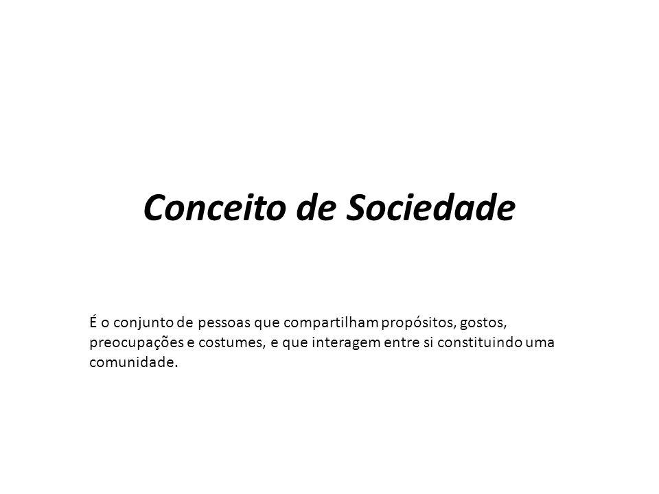 Conceito de Sociedade É o conjunto de pessoas que compartilham propósitos, gostos, preocupações e costumes, e que interagem entre si constituindo uma