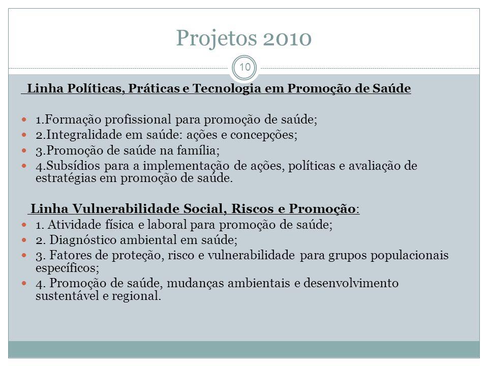 Projetos 2010 10 Linha Políticas, Práticas e Tecnologia em Promoção de Saúde 1.Formação profissional para promoção de saúde; 2.Integralidade em saúde: