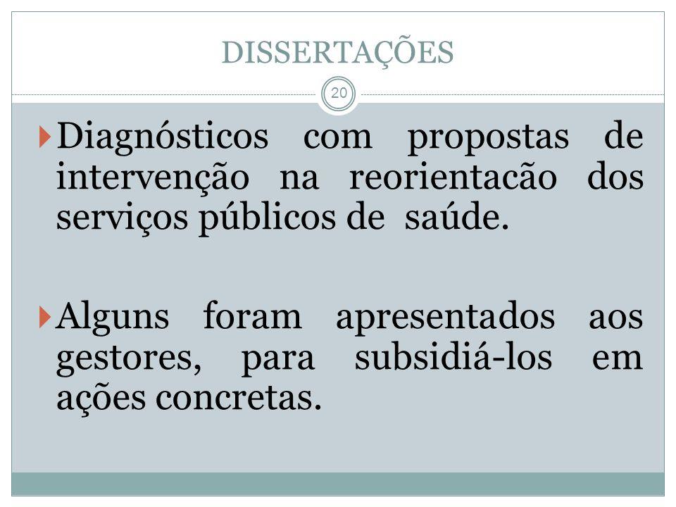 20 Diagnósticos com propostas de intervenção na reorientacão dos serviços públicos de saúde. Alguns foram apresentados aos gestores, para subsidiá-los