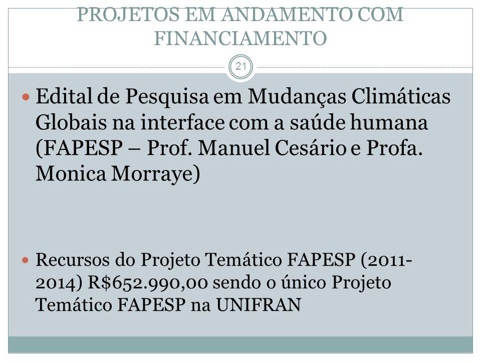 21 Edital de Pesquisa em Mudanças Climáticas Globais na interface com a saúde humana (FAPESP – Prof. Manuel Cesário e Profa. Monica Morraye) Recursos