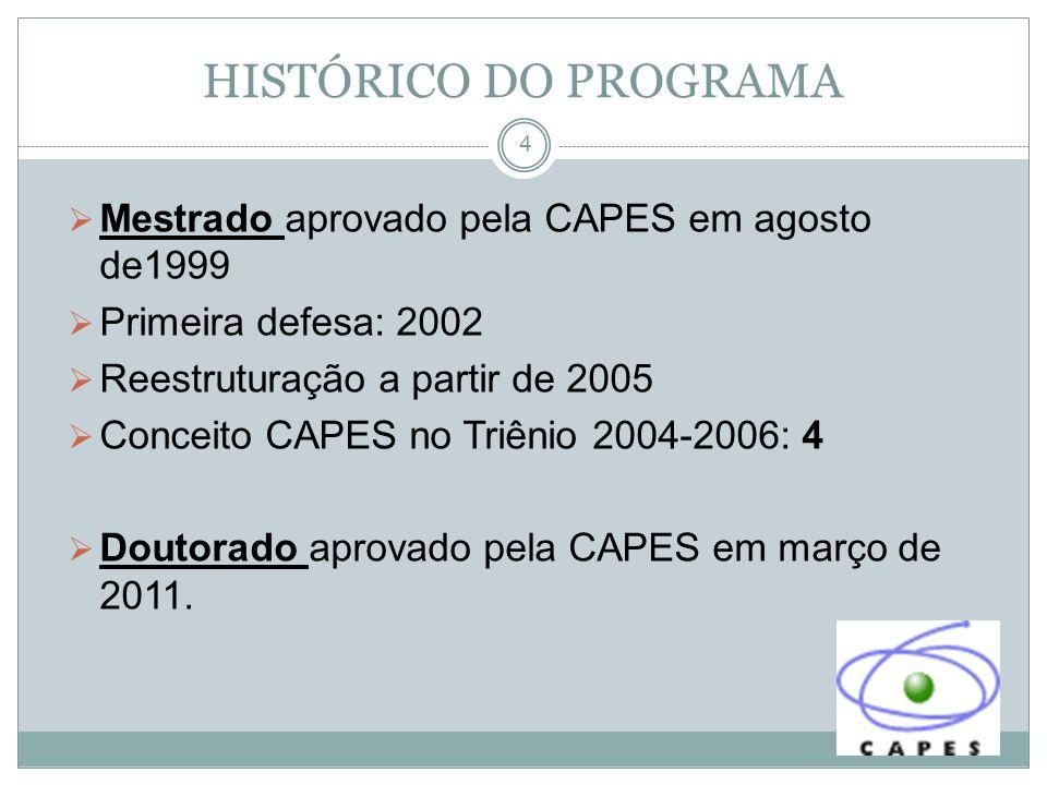 4 Mestrado aprovado pela CAPES em agosto de1999 Primeira defesa: 2002 Reestruturação a partir de 2005 Conceito CAPES no Triênio 2004-2006: 4 Doutorado