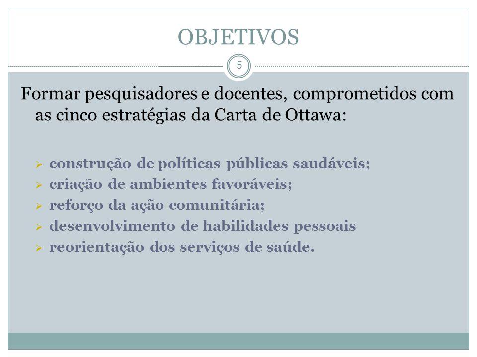 5 Formar pesquisadores e docentes, comprometidos com as cinco estratégias da Carta de Ottawa: construção de políticas públicas saudáveis; criação de a