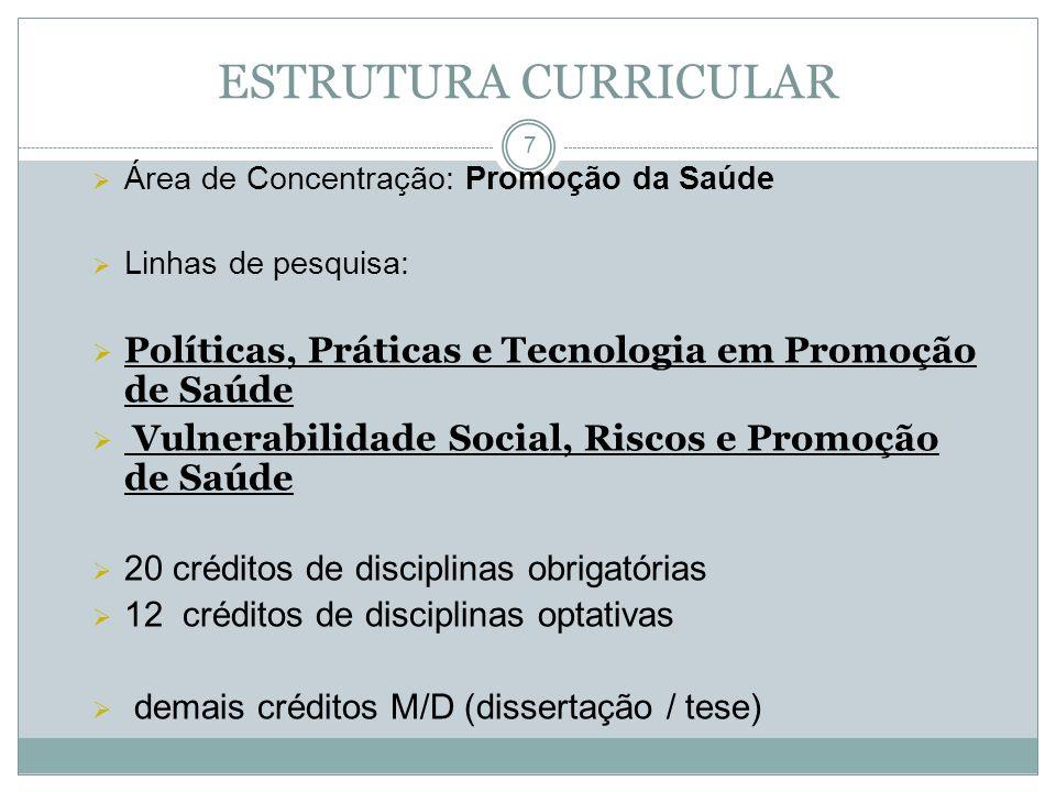 8 Promoção de Saúde: Aspectos Históricos, Conceituais e Metodológicos Políticas de Saúde no Brasil Fontes de Informação em Ciência e Tecnologia em Saúde Metodologia da Pesquisa Científica em Promoção de Saúde Ambiente e Promoção de Saúde Seminários de Dissertação (M) e de Pesquisa (D) DISCIPLINAS OBRIGATÓRIAS
