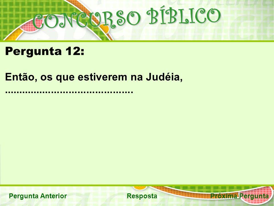 CONCURSO BÍBLICO Pergunta AnteriorRespostaPróxima Pergunta Pergunta 12: Então, os que estiverem na Judéia,............................................