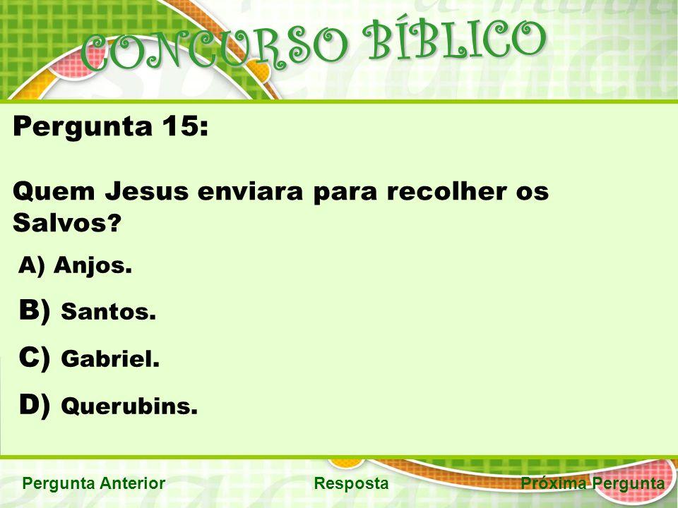 CONCURSO BÍBLICO Pergunta AnteriorRespostaPróxima Pergunta Pergunta 15: Quem Jesus enviara para recolher os Salvos .