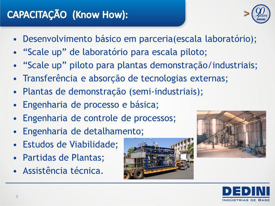 3 Desenvolvimento básico em parceria(escala laboratório); Scale up de laboratório para escala piloto; Scale up piloto para plantas demonstração/indust