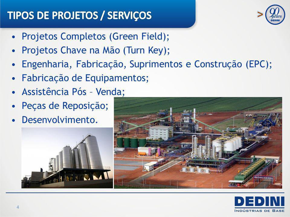 4 Projetos Completos (Green Field); Projetos Chave na Mão (Turn Key); Engenharia, Fabricação, Suprimentos e Construção (EPC); Fabricação de Equipament