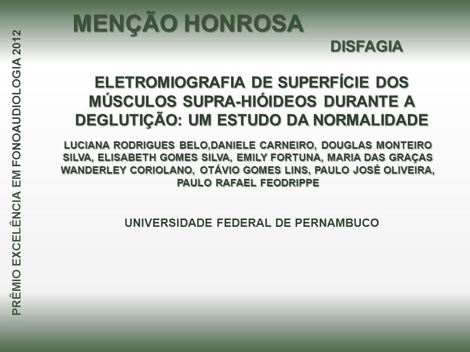 ELETROMIOGRAFIA DE SUPERFÍCIE DOS MÚSCULOS SUPRA-HIÓIDEOS DURANTE A DEGLUTIÇÃO: UM ESTUDO DA NORMALIDADE LUCIANA RODRIGUES BELO,DANIELE CARNEIRO, DOUG