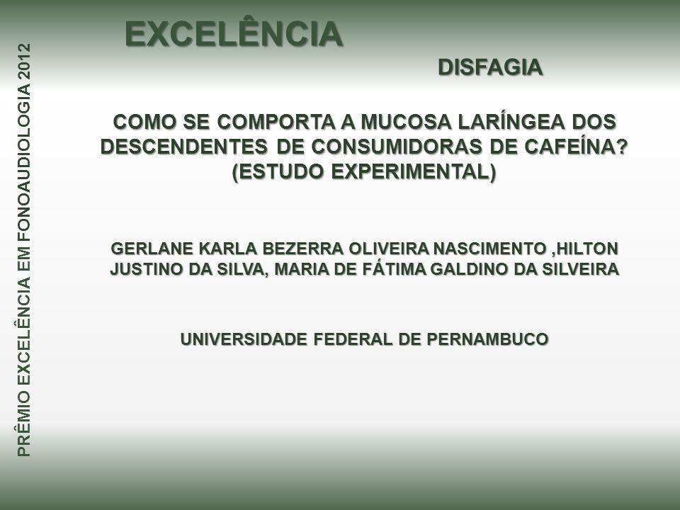 COMO SE COMPORTA A MUCOSA LARÍNGEA DOS DESCENDENTES DE CONSUMIDORAS DE CAFEÍNA? (ESTUDO EXPERIMENTAL) GERLANE KARLA BEZERRA OLIVEIRA NASCIMENTO,HILTON