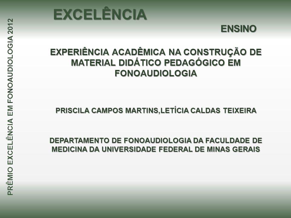EXPERIÊNCIA ACADÊMICA NA CONSTRUÇÃO DE MATERIAL DIDÁTICO PEDAGÓGICO EM FONOAUDIOLOGIA PRISCILA CAMPOS MARTINS,LETÍCIA CALDAS TEIXEIRA PRÊMIO EXCELÊNCI