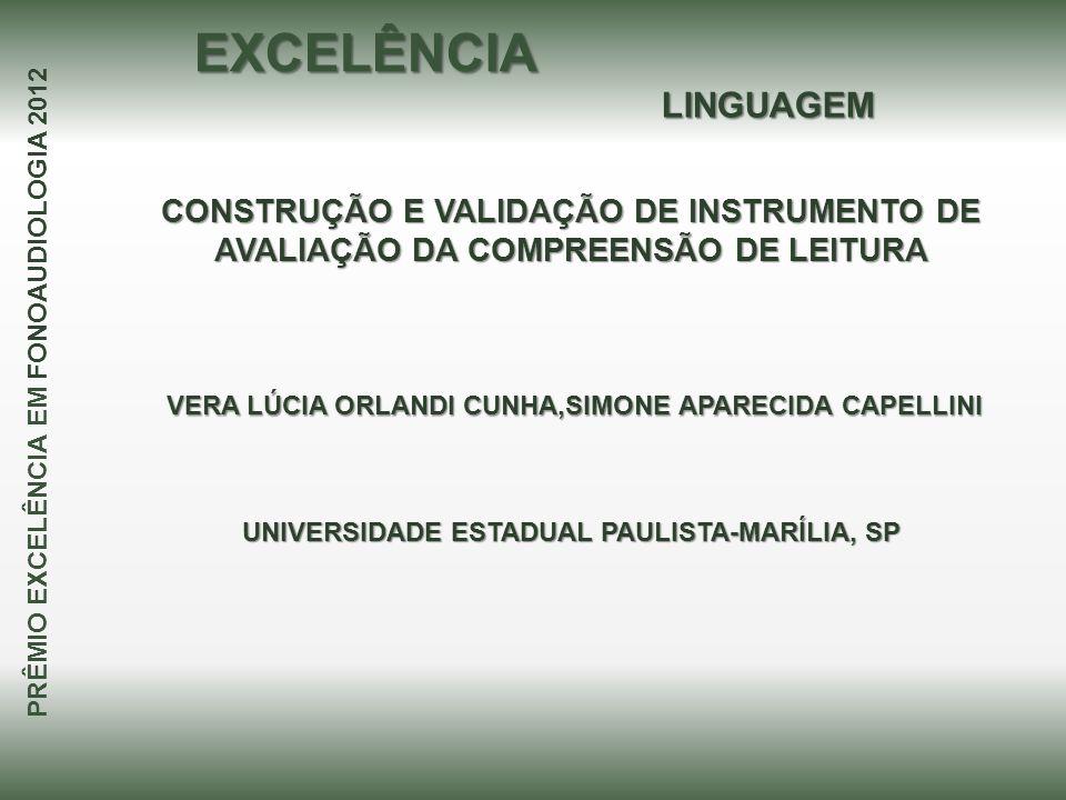 CONSTRUÇÃO E VALIDAÇÃO DE INSTRUMENTO DE AVALIAÇÃO DA COMPREENSÃO DE LEITURA VERA LÚCIA ORLANDI CUNHA,SIMONE APARECIDA CAPELLINI VERA LÚCIA ORLANDI CU