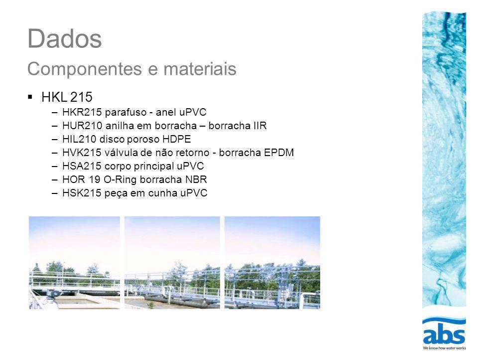 Dados Componentes e materiais HKL 215 –HKR215 parafuso - anel uPVC –HUR210 anilha em borracha – borracha IIR –HIL210 disco poroso HDPE –HVK215 válvula