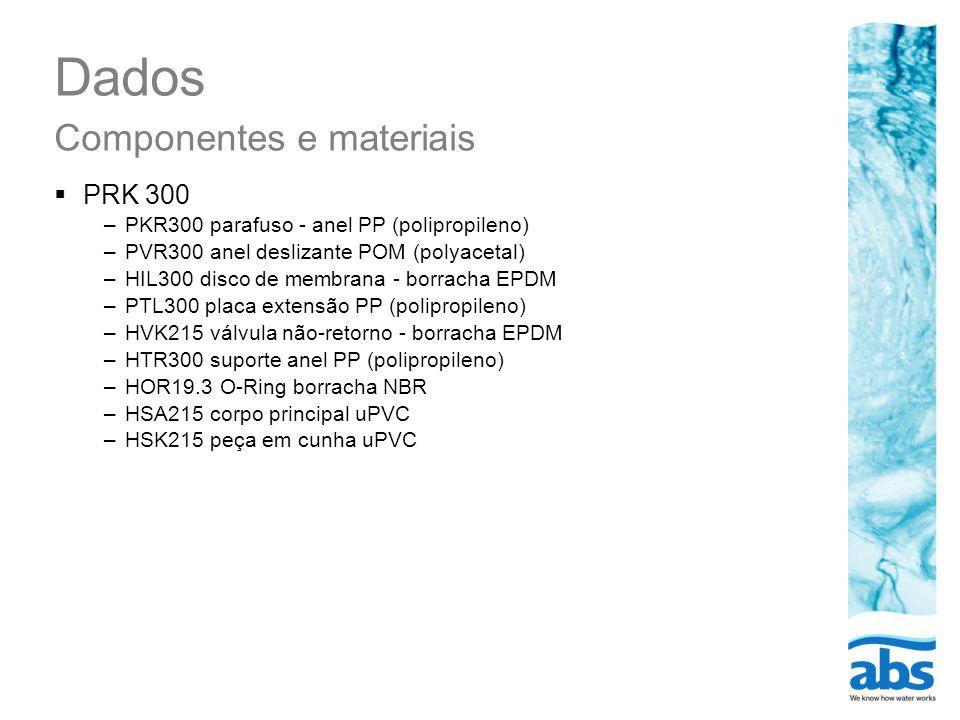Dados Componentes e materiais PRK 300 –PKR300 parafuso - anel PP (polipropileno) –PVR300 anel deslizante POM (polyacetal) –HIL300 disco de membrana -
