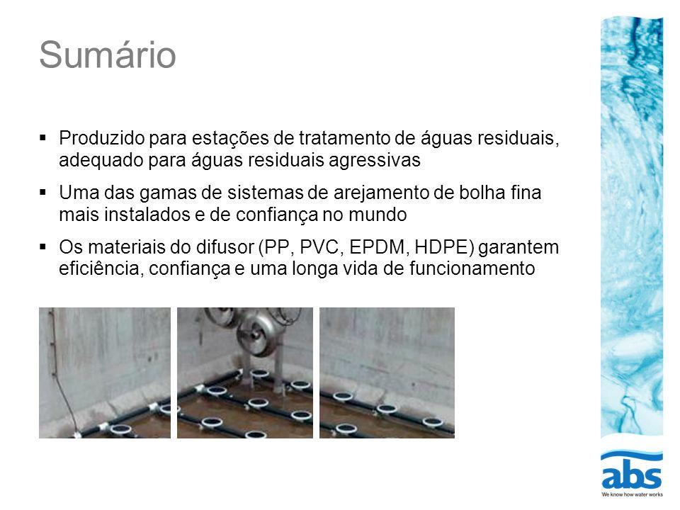 Sumário Produzido para estações de tratamento de águas residuais, adequado para águas residuais agressivas Uma das gamas de sistemas de arejamento de