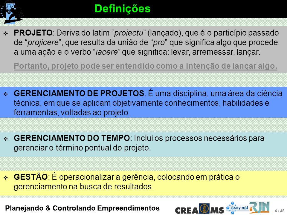 4 / 48 Planejando & Controlando Empreendimentos Definições GERENCIAMENTO DO TEMPO: Inclui os processos necessários para gerenciar o término pontual do projeto.