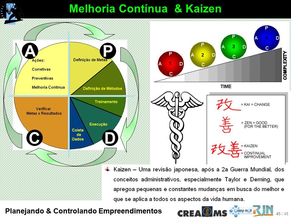 45 / 48 Planejando & Controlando Empreendimentos Melhoria Contínua & Kaizen P CD A