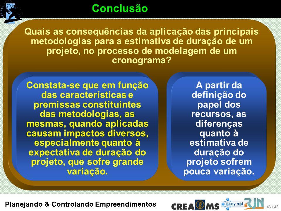 46 / 48 Planejando & Controlando Empreendimentos Quais as consequências da aplicação das principais metodologias para a estimativa de duração de um projeto, no processo de modelagem de um cronograma.