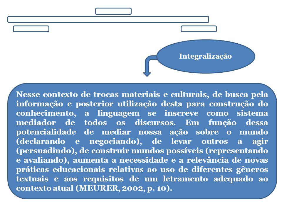 Integralização Nesse contexto de trocas materiais e culturais, de busca pela informação e posterior utilização desta para construção do conhecimento,