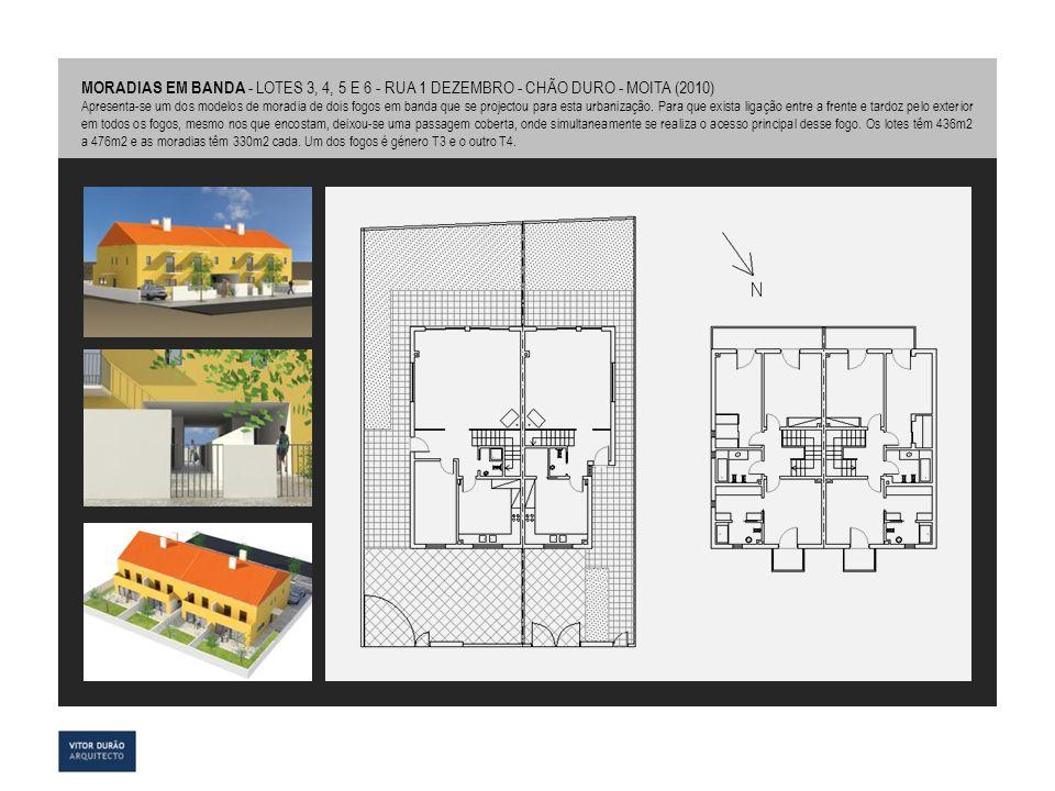MORADIAS EM BANDA - LOTES 3, 4, 5 E 6 - RUA 1 DEZEMBRO - CHÃO DURO - MOITA (2010) Apresenta-se um dos modelos de moradia de dois fogos em banda que se