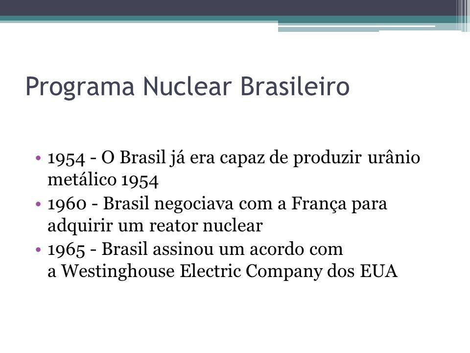 1954 - O Brasil já era capaz de produzir urânio metálico 1954 1960 - Brasil negociava com a França para adquirir um reator nuclear 1965 - Brasil assin