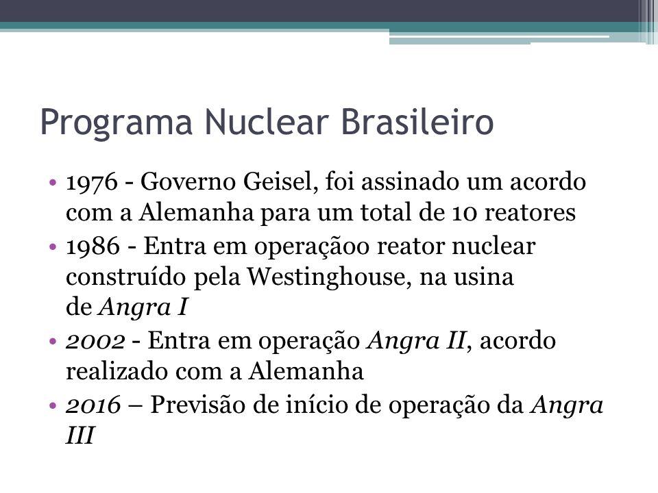 Programa Nuclear Brasileiro 1976 - Governo Geisel, foi assinado um acordo com a Alemanha para um total de 10 reatores 1986 - Entra em operaçãoo reator