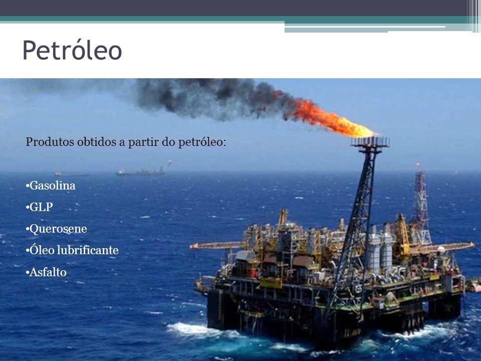 Petróleo Produtos obtidos a partir do petróleo: Gasolina GLP Querosene Óleo lubrificante Asfalto