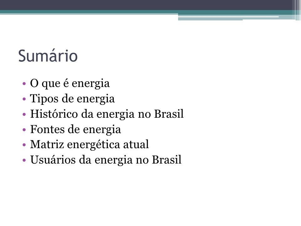 Sumário O que é energia Tipos de energia Histórico da energia no Brasil Fontes de energia Matriz energética atual Usuários da energia no Brasil