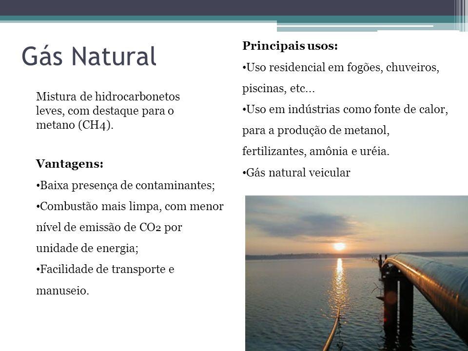 Gás Natural Mistura de hidrocarbonetos leves, com destaque para o metano (CH4). Vantagens: Baixa presença de contaminantes; Combustão mais limpa, com
