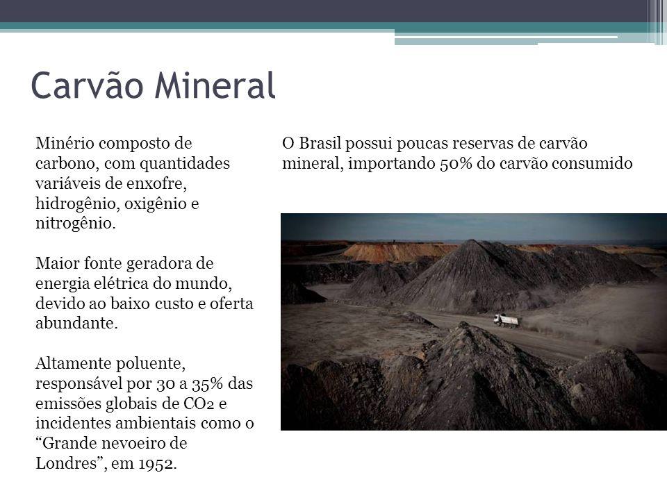 Carvão Mineral Minério composto de carbono, com quantidades variáveis de enxofre, hidrogênio, oxigênio e nitrogênio. Maior fonte geradora de energia e