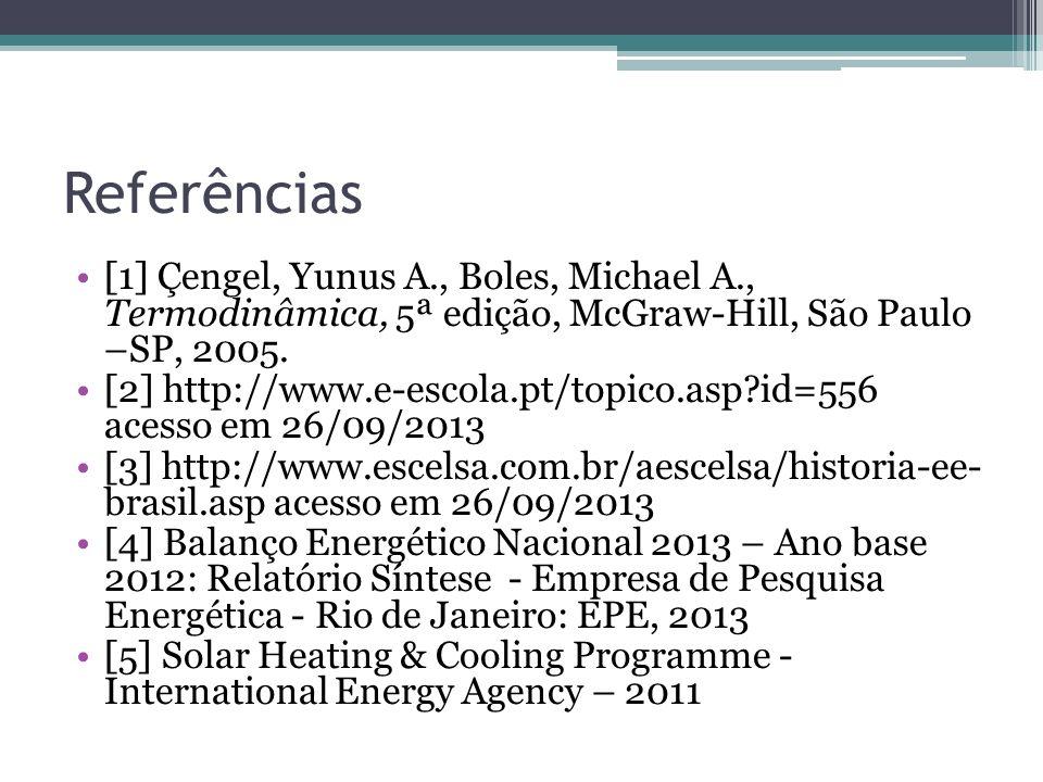 Referências [1] Çengel, Yunus A., Boles, Michael A., Termodinâmica, 5ª edição, McGraw-Hill, São Paulo –SP, 2005. [2] http://www.e-escola.pt/topico.asp