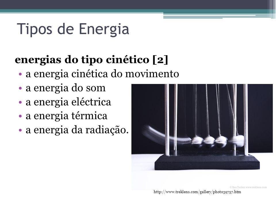 Tipos de Energia energias do tipo cinético [2] a energia cinética do movimento a energia do som a energia eléctrica a energia térmica a energia da rad
