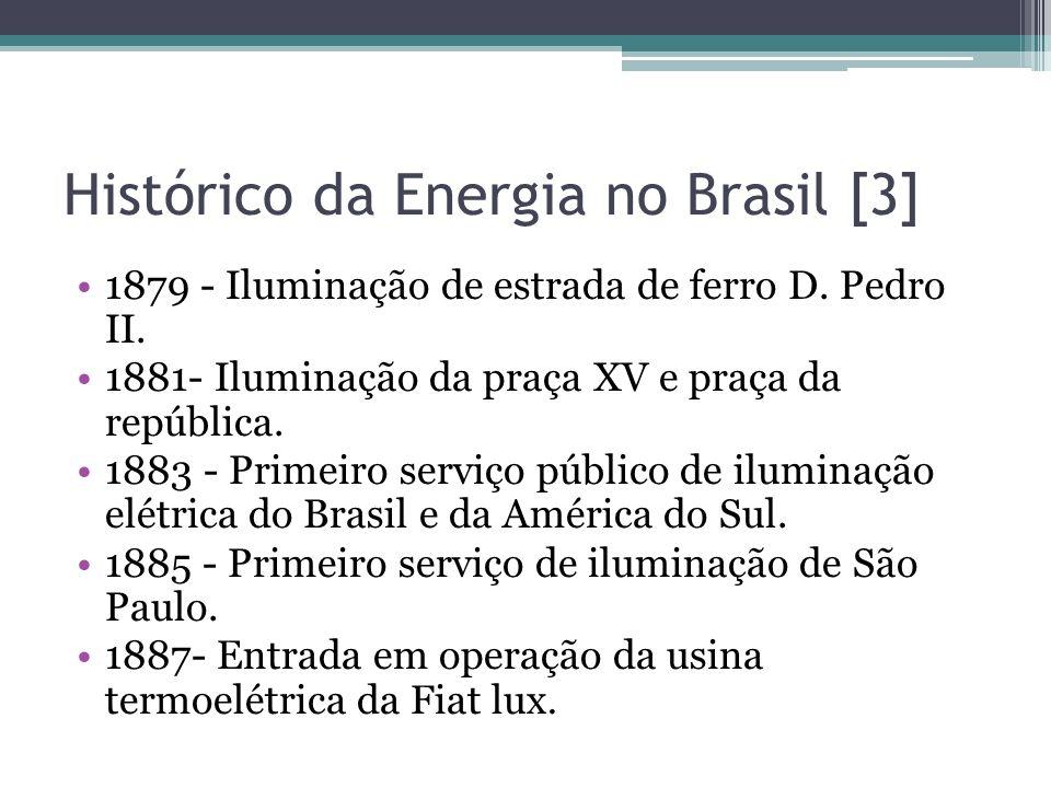 Histórico da Energia no Brasil [3] 1879 - Iluminação de estrada de ferro D. Pedro II. 1881- Iluminação da praça XV e praça da república. 1883 - Primei